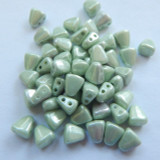 Nib-Bit Two Hole 6x5mm Chalk Light Green Luster 10 grams Czech Glass Beads