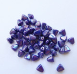 10 grams - Nib-Bit Two Hole 6x5mm - Royal Blue Nebula - Matubo Czech Glass Beads