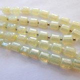 7mm Puffy Pillow Milky Jonquil luster (10 beads) Czech Glass