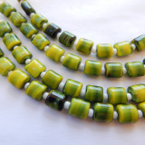 7mm Puffy Pillow Yellow Black Stripe (10 beads) Czech Glass