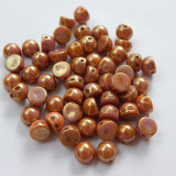 Cabochon 7mm 2-Hole Rose Gold Topaz Luster (25 beads) Czech Glass