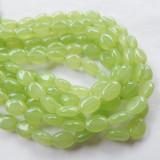 6x8mm Smooth Oval Light Green Coat (30 beads) Czech Glass