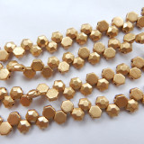 Two Hole Honeycomb Jewel Chisel Bronze pale Gold (30 Beads) Czech Glass Beads