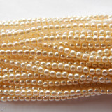 2mm Round Czech Glass Pearl Cream (150 beads)
