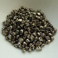 4x6mm DiamonDuo™ MINI Antique Chrome (50 beads) Czech Glass