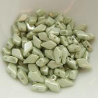 Kite (50 Beads) Chalk Green Luster 2-Hole Czech Glass 9x5mm