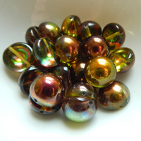 14mm Dome Czech Glass Crystal Magic Green (5 beads)