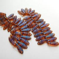 5x16mm Dagger (25 beads) Czech Glass Orange Transparent Laser Matte Flower