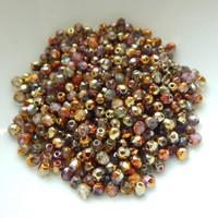 Firepolish 3mm (100 beads) Czech Glass Sunny Magic Crystal Embers