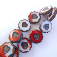 1 Bead - 21mm Coin Heart Table Cut Milky Red and White Travertin, Czech Glass
