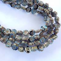 10 Beads - 10mm Hawaiian Flower Table Cut, Light Blue Black, Czech Glass