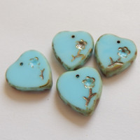 2 Pieces - 16x17mm Heart with Flower pendant, Charm Blue Turquoise Picasso - Czech Glass