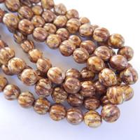 10 Beads - Melon 10mm Lilac Rose Gold Luster - Czech Glass