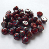 Cabochon 7mm 2-Hole Opq Red Bronze Picasso (25 beads) Czech Glass