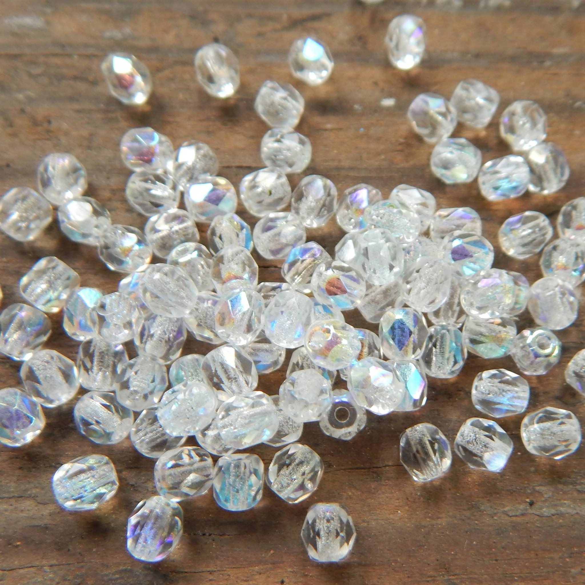 100 Crystal Czech Pressed Glass Cubes Beads 4mm