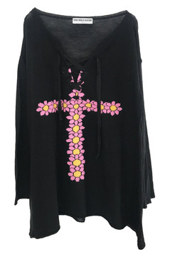 FLORAL CROSS BLACK KNIT SWEATER