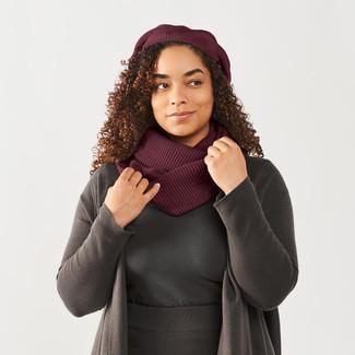 Gift Set - Chunky Rib Knit Infinity Scarf + Slouchy Beret