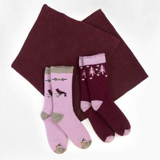 Gift Set - Chunky Rib Knit Infinity Scarf + Organic Wool Snuggle Socks