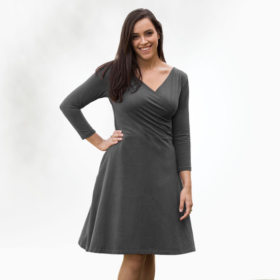 Organic Cotton 3/4 Sleeve Crossover Dress