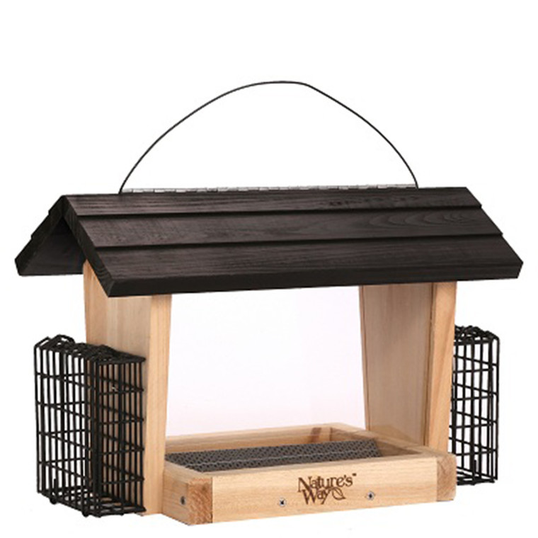 Natures Way Cedar Hopper Feeder with Suet and Green Roof #NWCWF19
