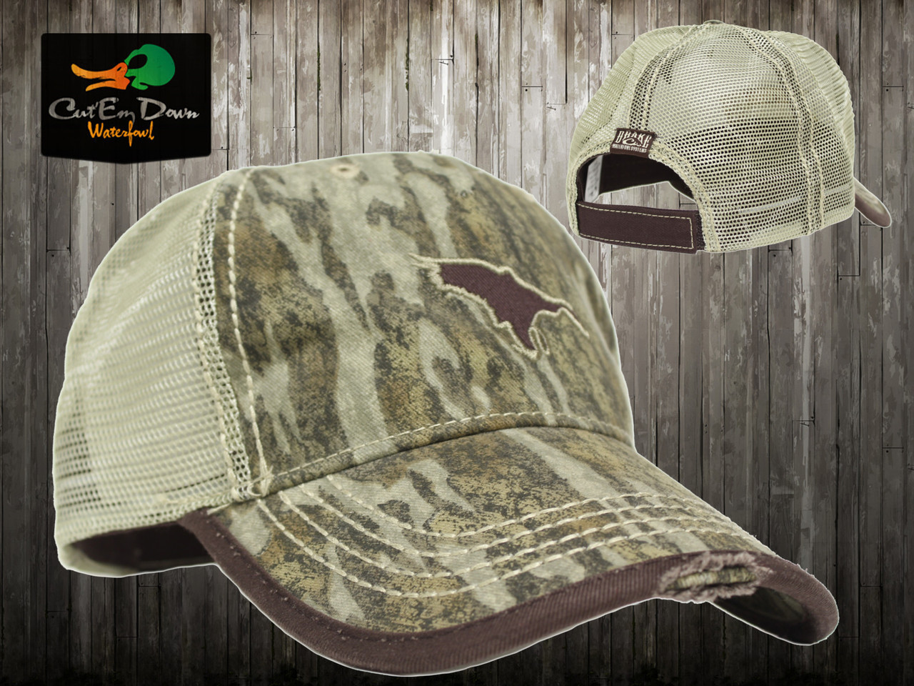 DRAKE WATERFOWL FLYING DUCK LOGO TRUCKER CAP TAN MESH BOTTOMLANDS CAMO d39f8d6d283