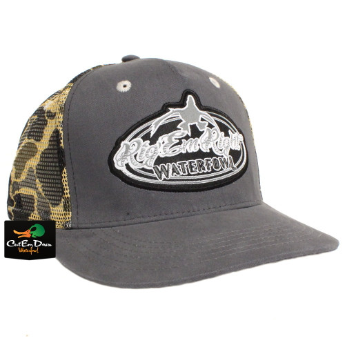fdc67650aaf RIG EM RIGHT WATERFOWL GRAY TRUCKER HAT WITH VINTAGE CAMO MESH