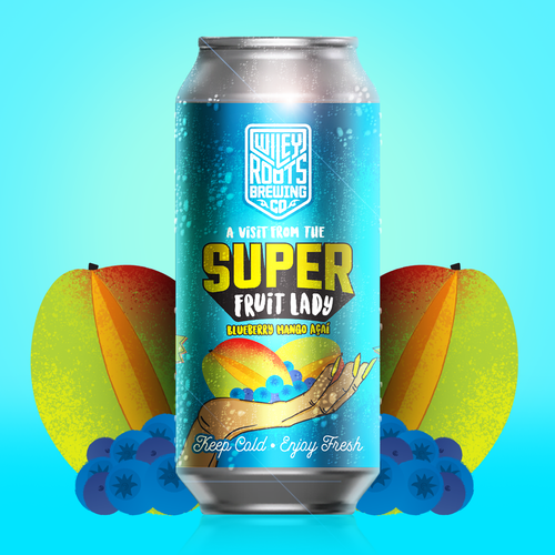 Smoothie style unpasteurized fruited sour ale with Blueberry, Mango, and Acai.
