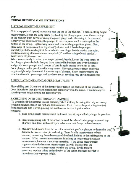String Height Gauge Instruction Sheet