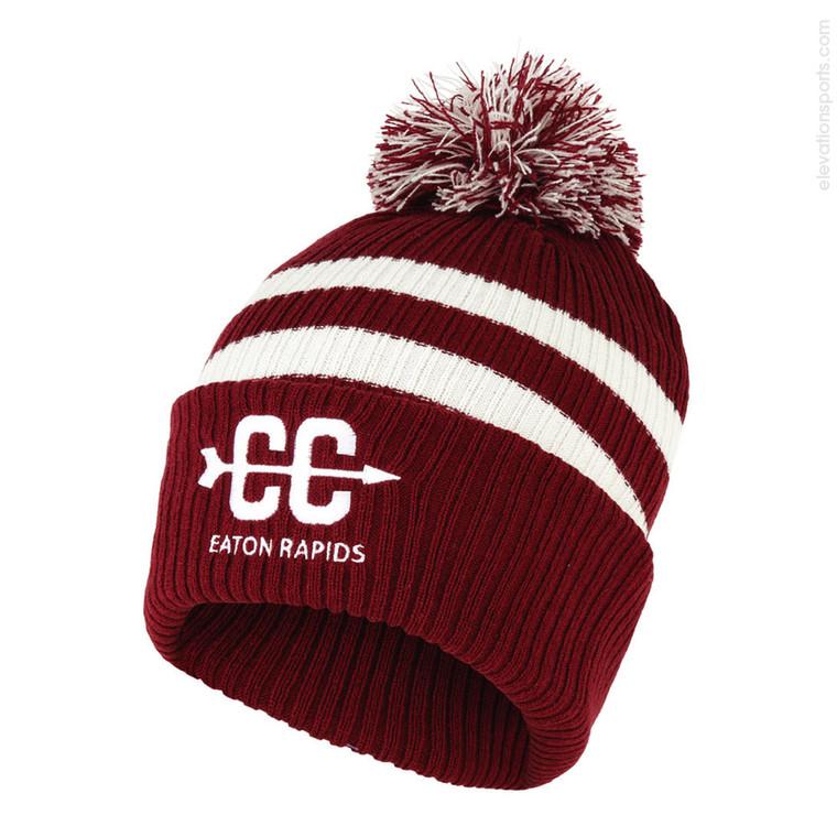 Custom Nike Striped Winter Hat with Pom