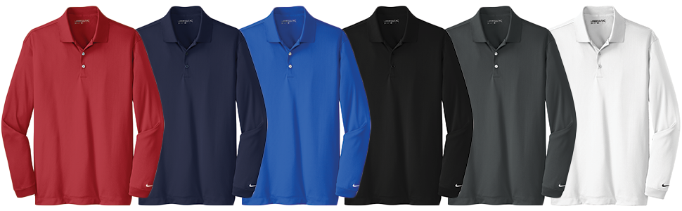Custom Nike Golf Long Sleeve Dri-FIT Stretch Polo Shirt