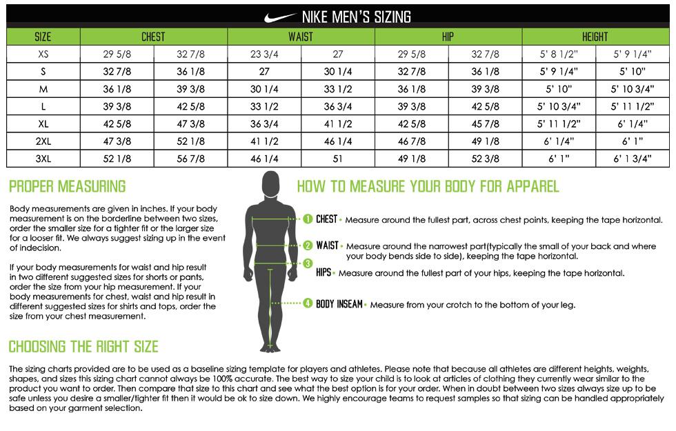 Custom Nike Jackets Sizing Chart