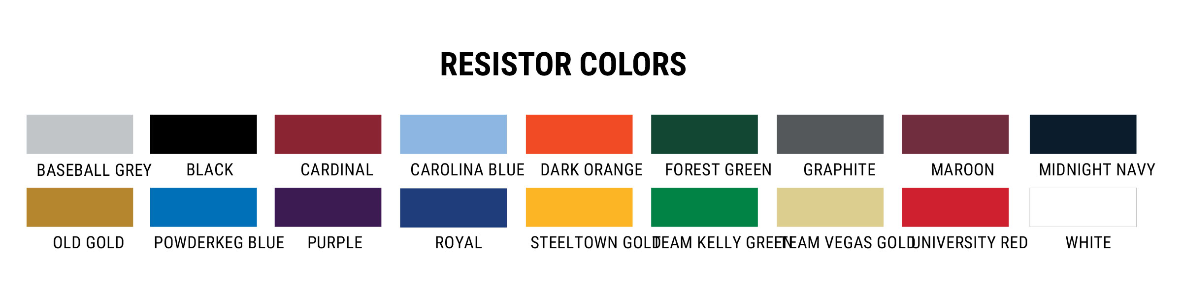 Under Armour Resistor Fabric Colors