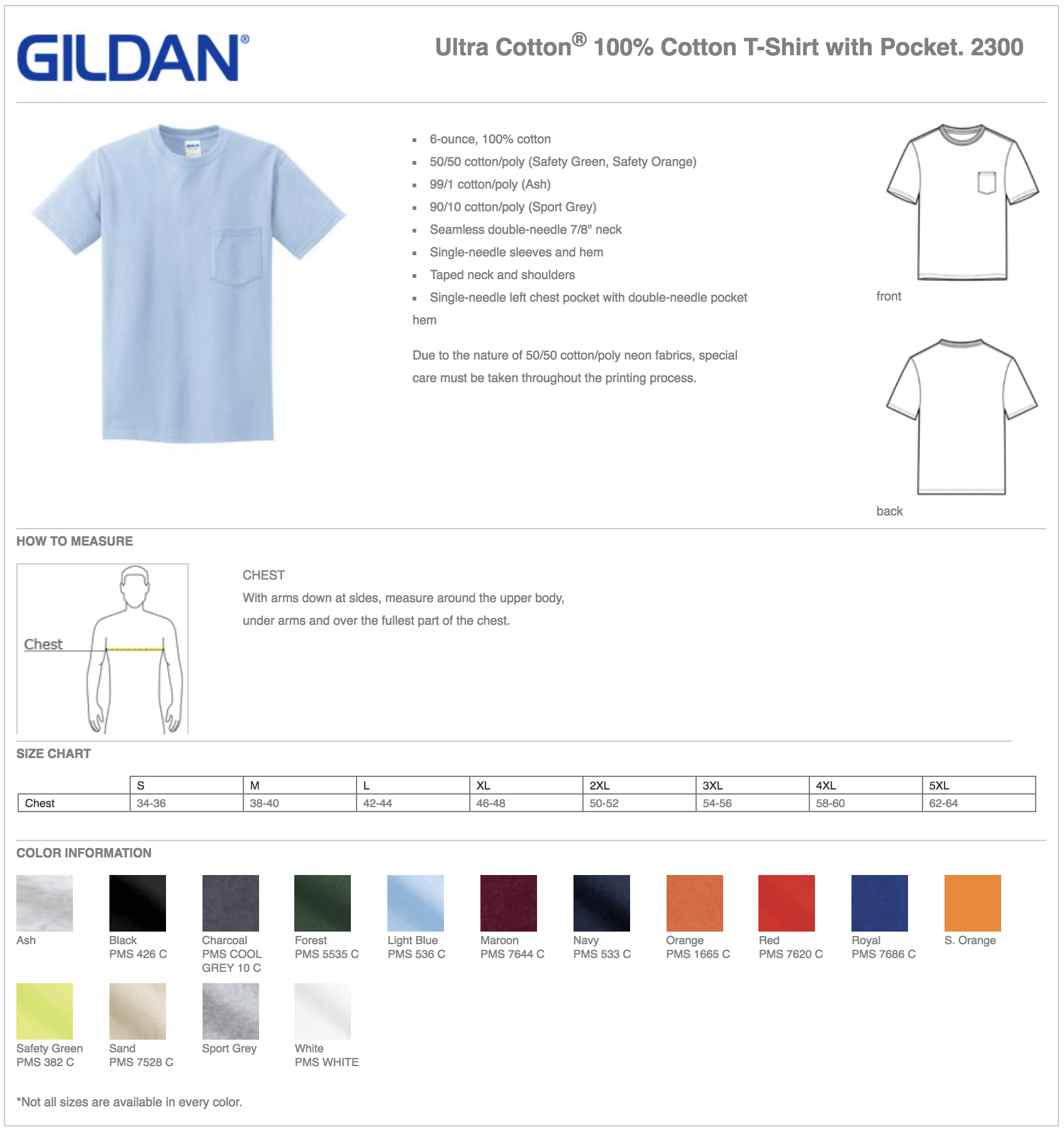 Gildan 2300 Custom T-Shirts with Pocket