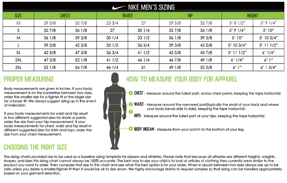 Nike Apparel Men's Sizing Chart