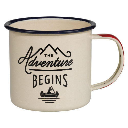 Adventure Begins Enamel Mug - Cream