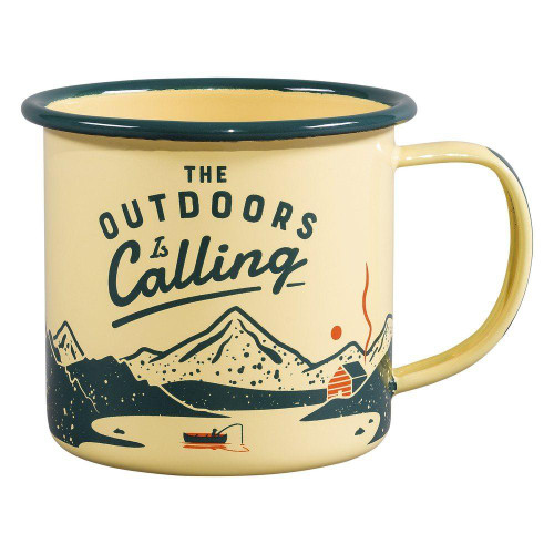Outdoors is Calling Enamel Camping Mug