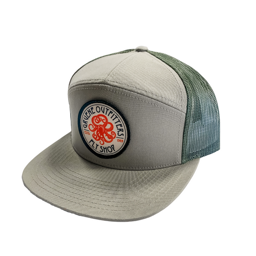 G.O. Fly Shop Kraken Logo Seven Panel Trucker - Loden