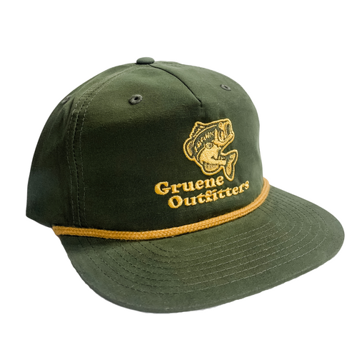 G.O. Bass Six Panel Trucker - Loden/ Gold