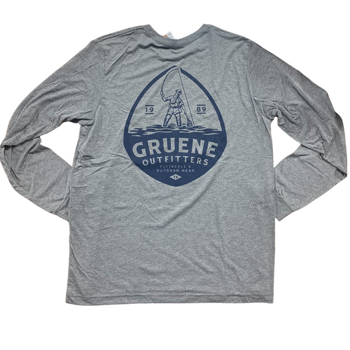Gruene Outfitters Long Sleeve Logo Tee- Grey
