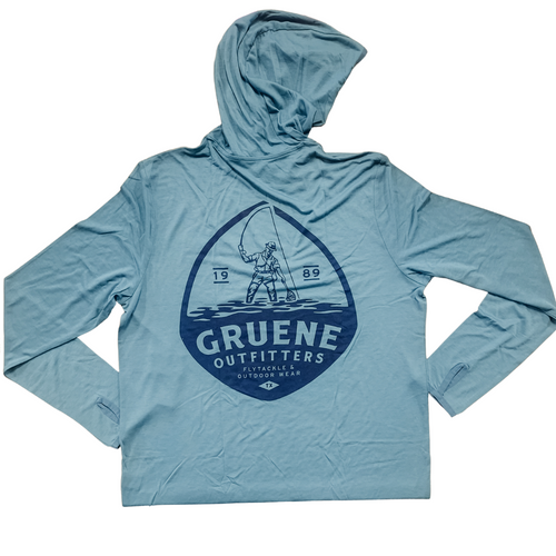 Free Fly Bamboo Lightweight Hoody with G.O. Logo - Cape Blue
