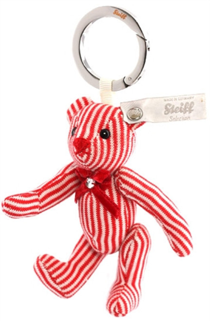 Steiff Red Striped Cotton Teddy Bear Keyring