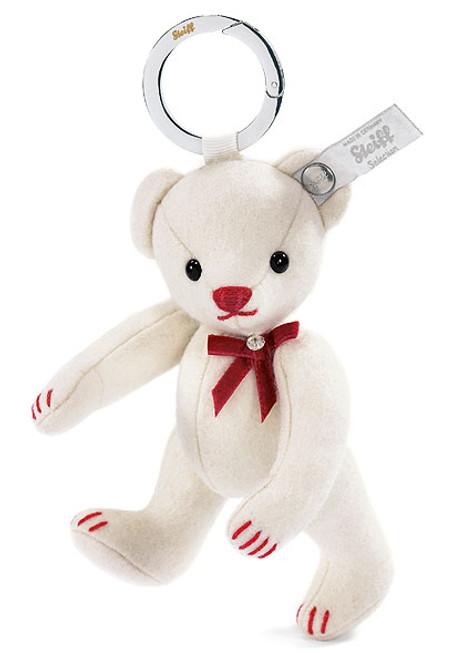 Steiff White Felt Teddy Bear Keyring