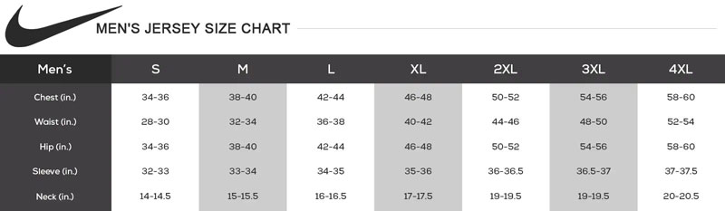 Nike MLB Men's Replica Jersey Size Chart