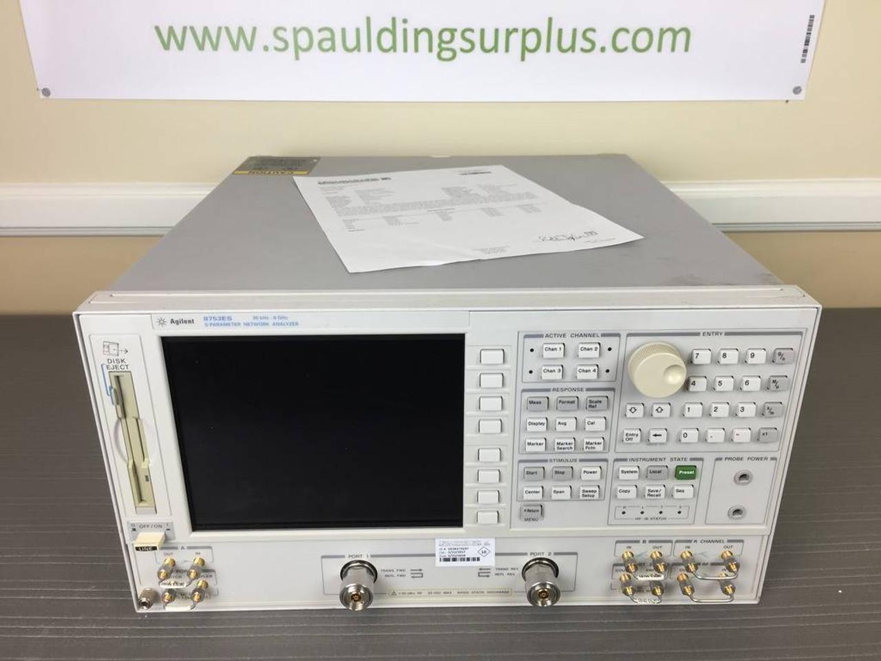 Agilent 8753ES 30KHz - 6GHz S-Parameter Vector Network Analyzer w/  002/006/014