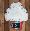 Happy Birthday Cupcake Wall Art, Wood Cutout, Paint by Line