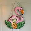 Tropical Bird With Pineapple, Unfinished Wooden Cutout Craft, Paint by Line