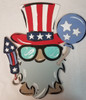 Patriotic Gnome With Fireworks Unfinished Paint By Line Craft Shape