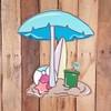 Beach Umbrella Scene Tropical Wood Shape, Paint by Line