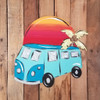 Beach Van With Palm Tree Tropical Wood Shape, Paint by Line