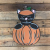 Kitty Cat in Pumpkin Wood Cutout, Unfinished Craft, Paint by Line